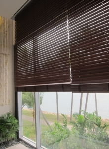 Motorized Wood Venetain Blinds (Sentosa Cove)